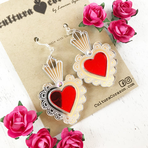 Sacred Heart Mirrored Earrings