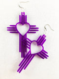 Zia Heart Cross Earrings  3""