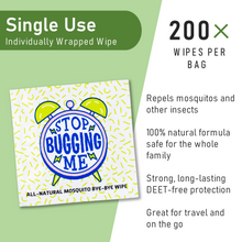 All Natural Mosquito Repellent Wipes - 200 Single Packets
