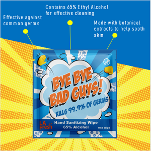 Bye Bye Bad Guys! 65% Alcohol Hand Sanitizing Wipes -  200ct Case