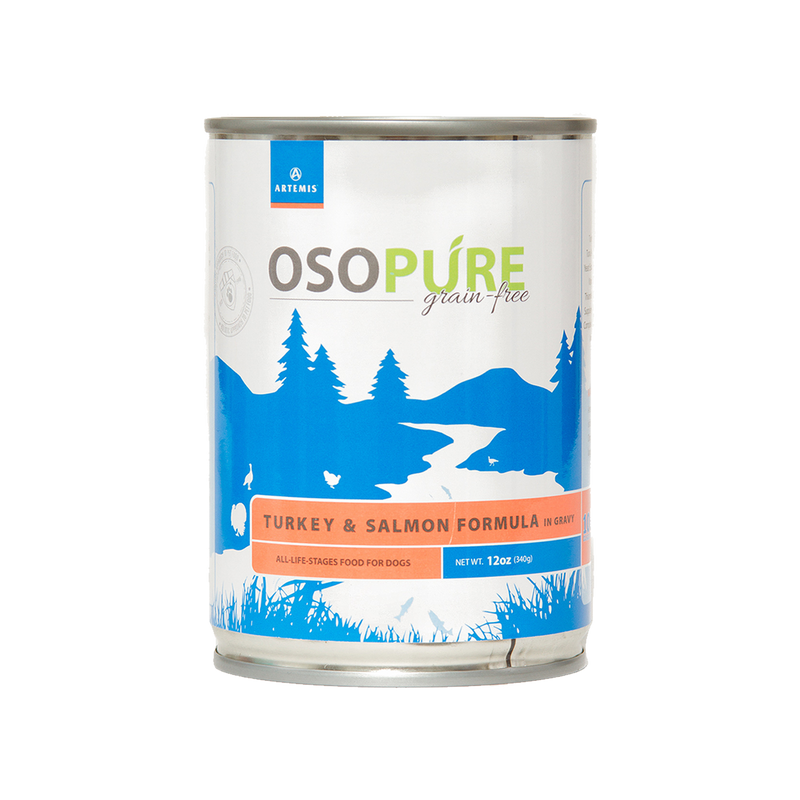 OSOPURE Grain Free Turkey & Salmon Canned Dog Food (12 pack)