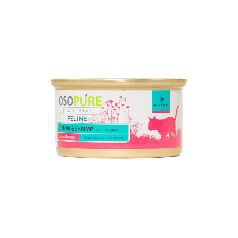 OSOPURE Feline Grain Free Tuna & Shrimp Canned Cat Food (24 pack)