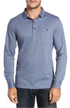 Bugatchi Long Sleeve Polo Steel