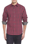 Bugatchi Red Checkered Button Up