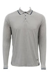 Stone Rose Charcoal Speckle Knit Long Sleeve Polo