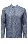 Stone Rose Navy Flame Knit Long Sleeve Polo