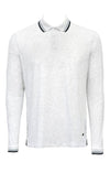 Stone Rose White Speckle Knit Long Sleeve Polo