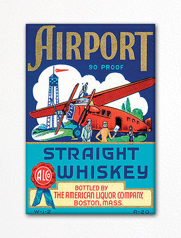 Airport Straight Whiskey Label Art Fridge Magnet