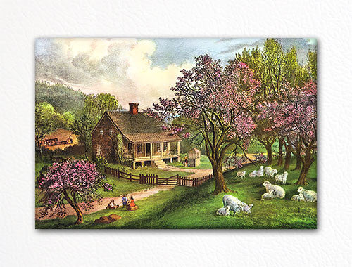 American Homestead Spring Currier & Ives Fridge Magnet