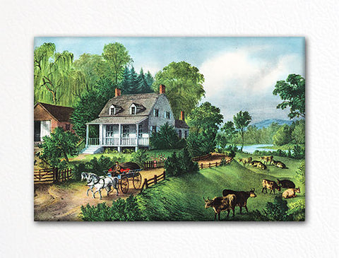 American Homestead Summer Currier & Ives Fridge Magnet