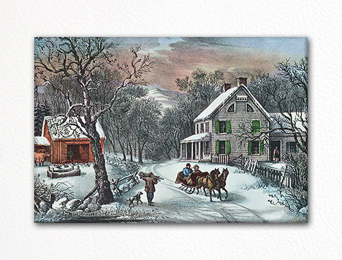 American Homestead Winter Currier & Ives Fridge Magnet