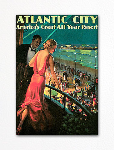 Atlantic City Vintage Advertising Poster Fridge Magnet