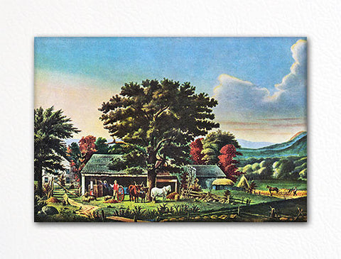Autumn in New England Currier & Ives Fridge Magnet