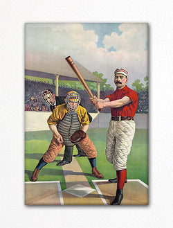 Baseball Batter and Catcher Fridge Magnet