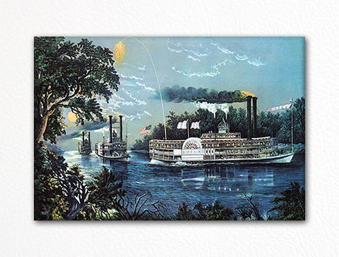 Steamboat Rounding a Bend on the Mississippi Fridge Magnet