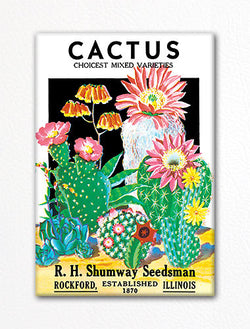 Cactus Seed Packet Artwork Fridge Magnet