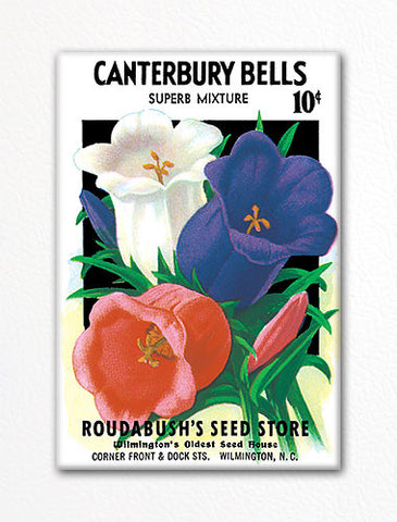 Canterbury Bells Seed Packet Artwork Fridge Magnet