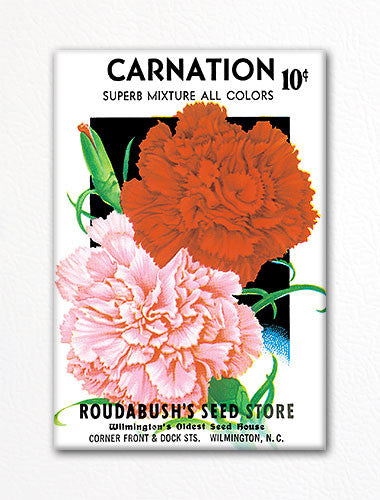 Carnation Seed Packet Artwork Fridge Magnet