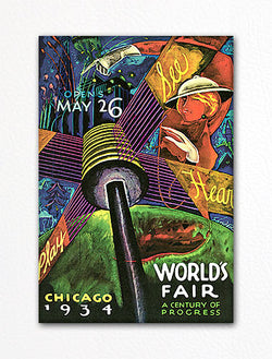 Chicago 1934 Worlds Fair Advertisement Fridge Magnet