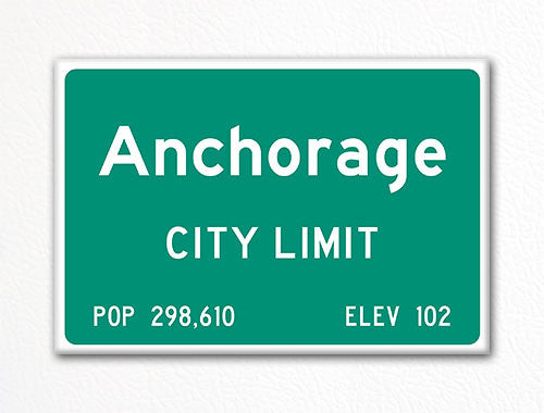 Anchorage City Limit Sign Fridge Magnet