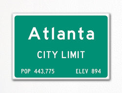 Atlanta City Limit Sign Fridge Magnet