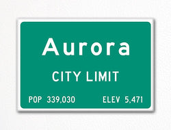 Aurora Colorado City Limit Sign Fridge Magnet