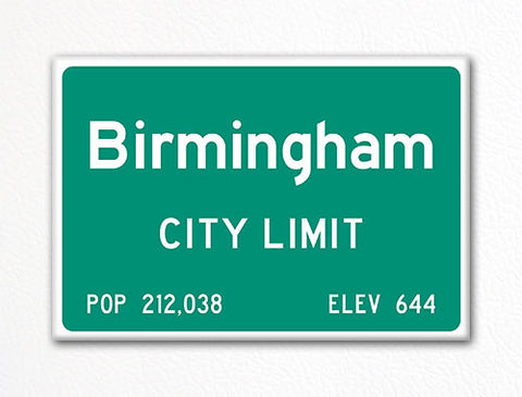 Birmingham City Limit Sign Fridge Magnet