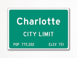 Charlotte City Limit Sign Fridge Magnet