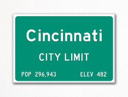 Cincinnati City Limit Sign Fridge Magnet