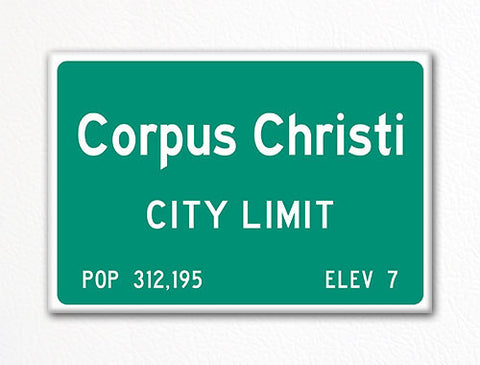 Corpus Christi City Limit Sign Fridge Magnet