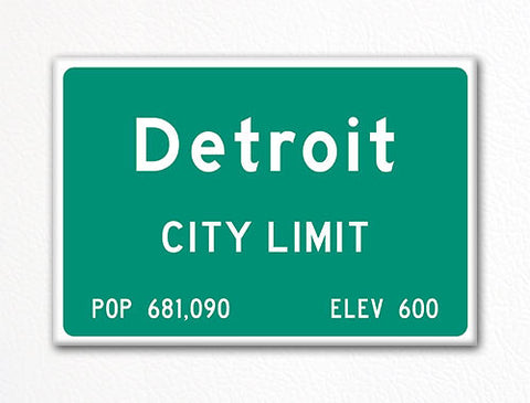 Detroit City Limit Sign Fridge Magnet