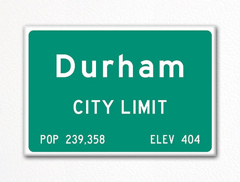 Durham City Limit Sign Fridge Magnet