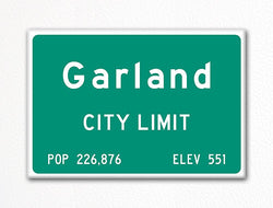 Garland City Limit Sign Fridge Magnet