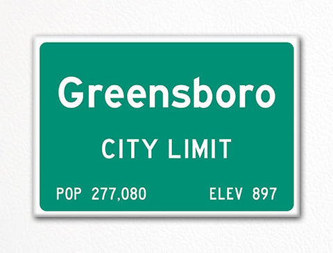 Greensboro City Limit Sign Fridge Magnet