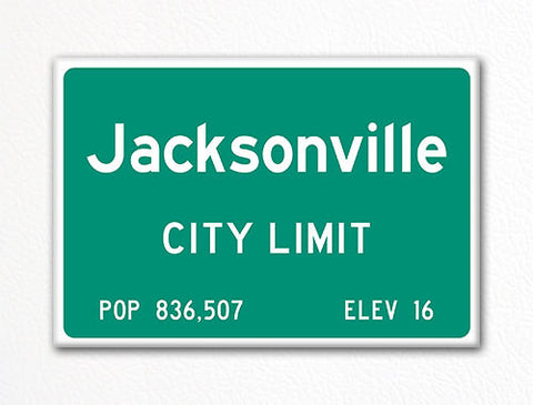 Jacksonville City Limit Sign Fridge Magnet