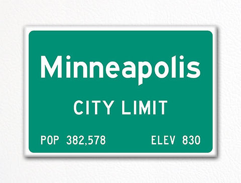 Minneapolis City Limit Sign Fridge Magnet