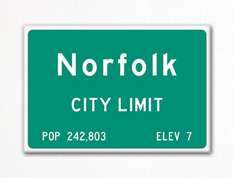 Norfolk City Limit Sign Fridge Magnet