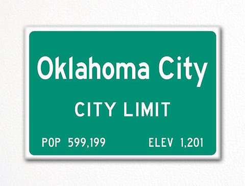 Oklahoma City City Limit Sign Fridge Magnet
