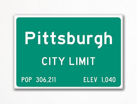 Pittsburgh City Limit Sign Fridge Magnet