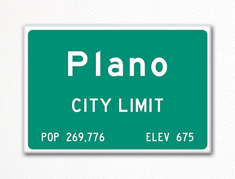 Plano City Limit Sign Fridge Magnet