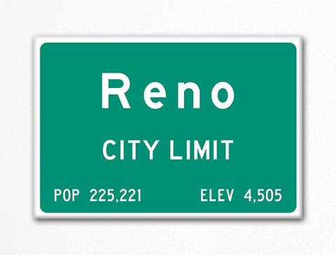 Reno City Limit Sign Fridge Magnet