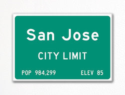 San Jose City Limit Sign Fridge Magnet