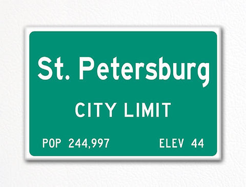 St. Petersburg City Limit Sign Fridge Magnet
