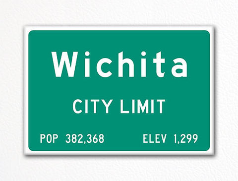 Wichita City Limit Sign Fridge Magnet