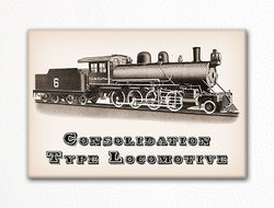 Consolidation Type Locomotive Fridge Magnet