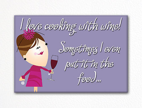 I Love Cooking with Wine Fridge Magnet