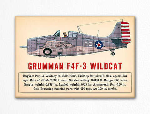 Grumman F4F-3 Wildcat WWII Aircraft Illustration Fridge Magnet