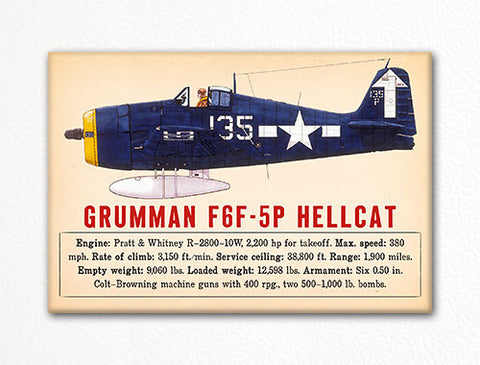 Grumman F6F-5P Hellcat WWII Aircraft Illustration Fridge Magnet