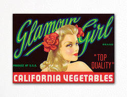 Glamour Girl California Vegetables Label Art Fridge Magnet