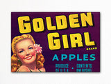 Golden Girl Apples Label Art Fridge Magnet